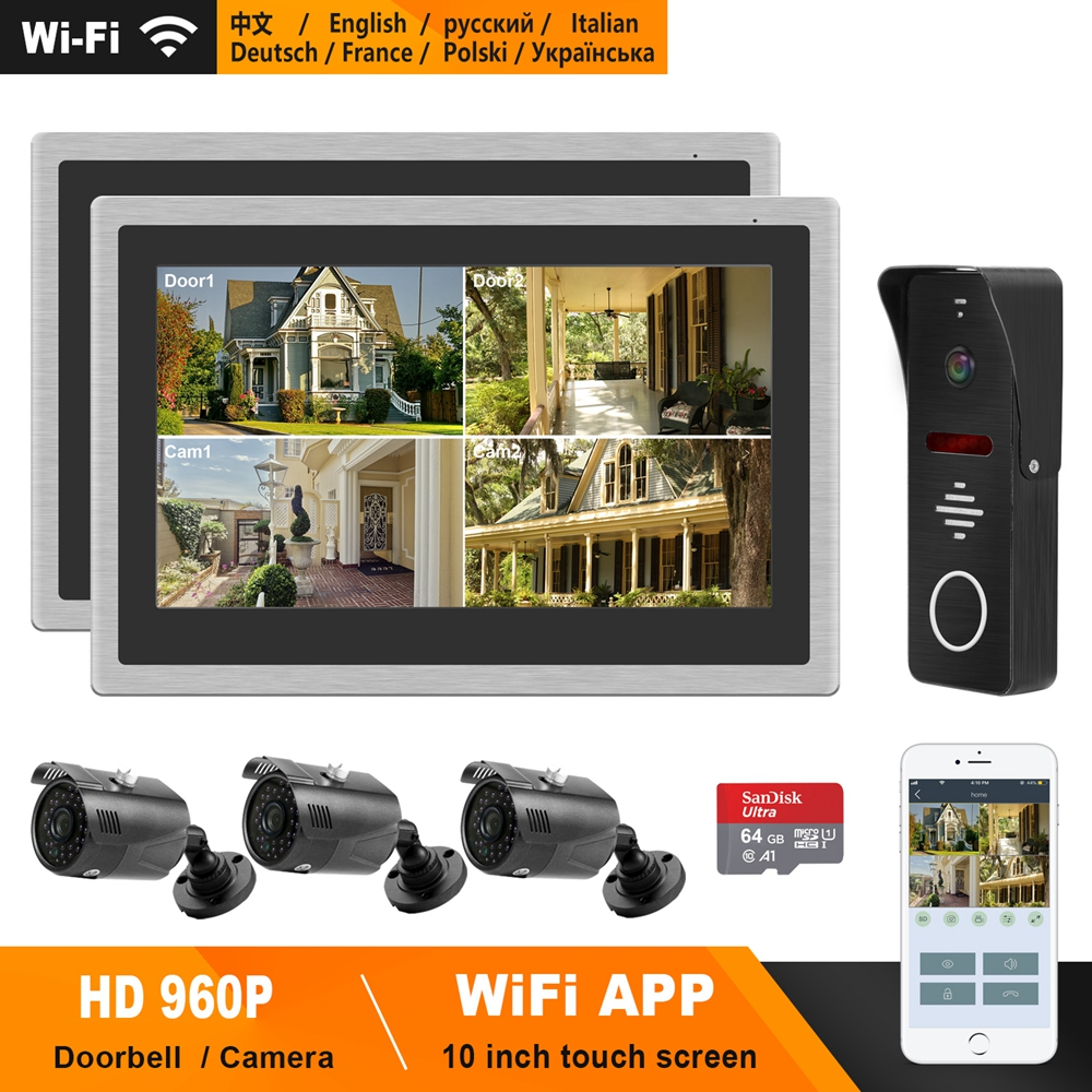 HomeFong IP Video Door Phone WiFi 10 Inch Touch Screen Monitor Support Smart Phone Real-Time Control  Home Video Intercom System