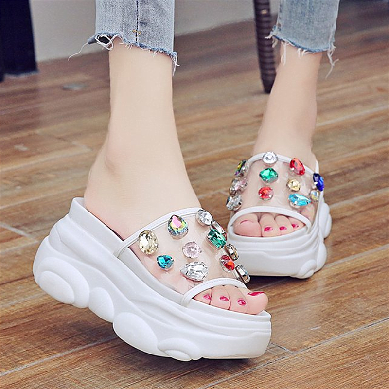 <font><b>Women's</b></font> Fashion Rhinestone Sandals Slippers 2020 New Bow Foft platform Bottom Casual Open Toe Flat <font><b>shoes</b></font> <font><b>Women</b></font> size 34-39 image