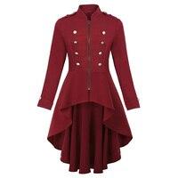 Women's Jacket Buttons Decorated Coat Zip Up High Low Hem Renaissance Steampunk Vintage Fashion Long Coats Outerwear Lady Tops