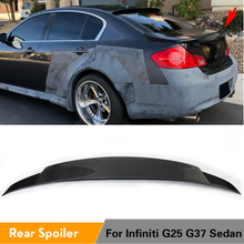 Для Infiniti G37 4 двери база седан 2009-2013 G25 2011-2012 углеродного волокна/FRP Неокрашенный задний багажник спойлер крыла