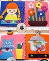 Тканевая книга Монтессори для малышей игрушки «сделай сам» Радужный замок ручная работа книга занятая доска для малышей Раннее Обучение Ба...