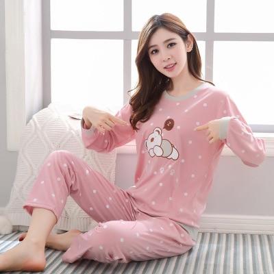 Cartoon Cute Dotted Sleepy Bear Long Sleeve Pajamas Women's Spring And Autumn Sweet Cute Women's Home Wear Large Size Set