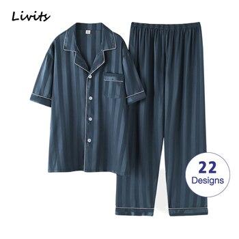 Men's Pajamas Sets High Quality Satin Silk Pyjamas Sleepwear Nightwear Loungewear Underwear Striped Printed Casual For Male