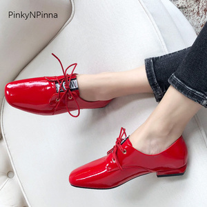 fashion women soft patent leather shining flat oxford casual shoes office commuter red pigskin insole breathable chic plus size