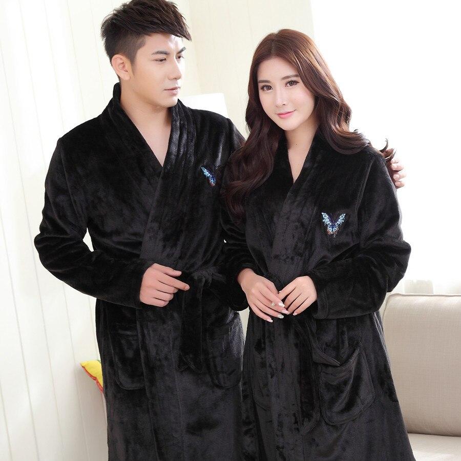 Lovers Nightwear Casual Soft Homewear Bath Gown Winter Home Clothing Warm Men Sleepwear Embroidery Flannel Kimono Bathrobe Robe