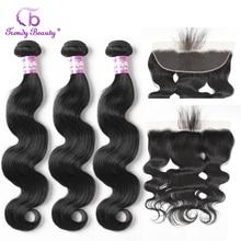 Cheveux de beauté à la mode brésilien vague de corps cheveux humains 3 paquets avec 13x4 oreille à oreille dentelle fermeture frontale Non Remy 4 pcs/lot