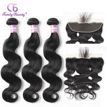อินเทรนด์ Hair Brazilian Body Wave Hair 3 รวมกลุ่มกับ 13x4 หูเพื่อ Ear Lace Frontal Closure non Remy 4 ชิ้น/ล็อต