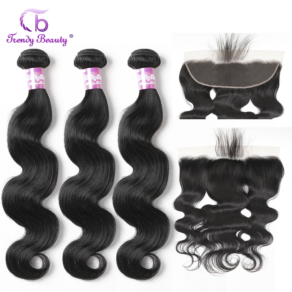 Trendy Beauty Hair Brazilian Body Wave Human Hair 3 Bundles With 13x4 Ear To Ear Lace Frontal Closure Non Remy  4pcs/lot