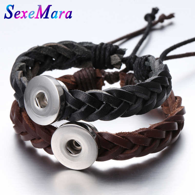 New Snap Jewelry Handmade Braided Leather Snap Bracelet Bangles fit 18mm Snap Button DIY Ginger Charm Bracelet
