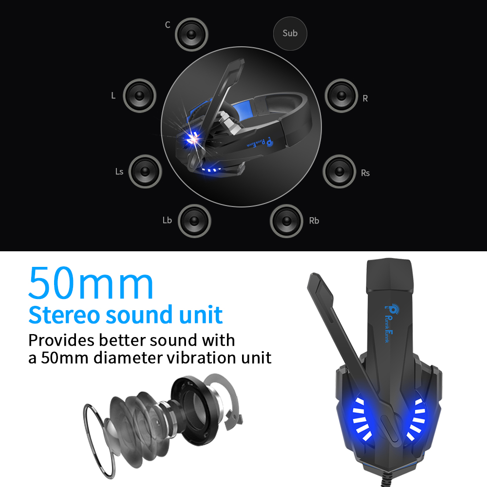 Professionele Gaming Hoofdtelefoon Led Licht Bass Stereo Ruisonderdrukking Microfoon Gamer Headset Voor PS4 PS5 Xbox Laptop Pc Bedrade Headset 3