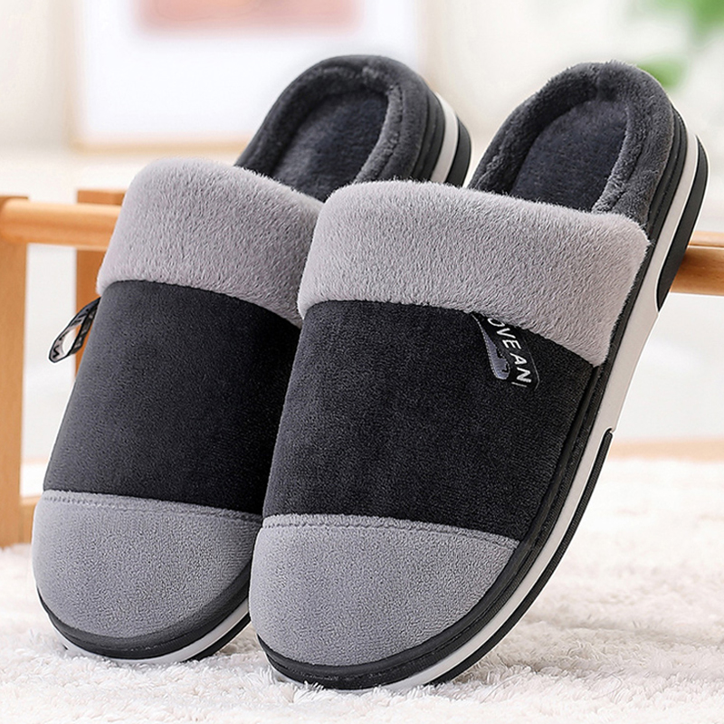 Winter Warm Men Slippers Short Plush Suede Velvet Indoor Shoes For Male Non Slip Mix Color House Fur Slippers Men Fashion