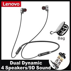Lenovo HE08 Dual Dynamic Wireless Nackband Headphone 4 Driver Metal HIFI Stereo Headset With Mic Long Time Play