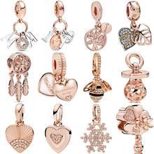 Слоем настоящего розового для мам и дочек, с буквами для мамы и дочки сердца «Ловец снов» очаровательные серебряные бусины 925 пробы Браслет ...