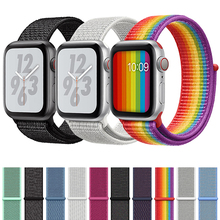 Sport Bracelet Loop band for Apple Watch 44mm 42mm 40mm 38mm Reflective Woven Nylon Strap Wrist band For iwatch series 4/3/2/1 все цены