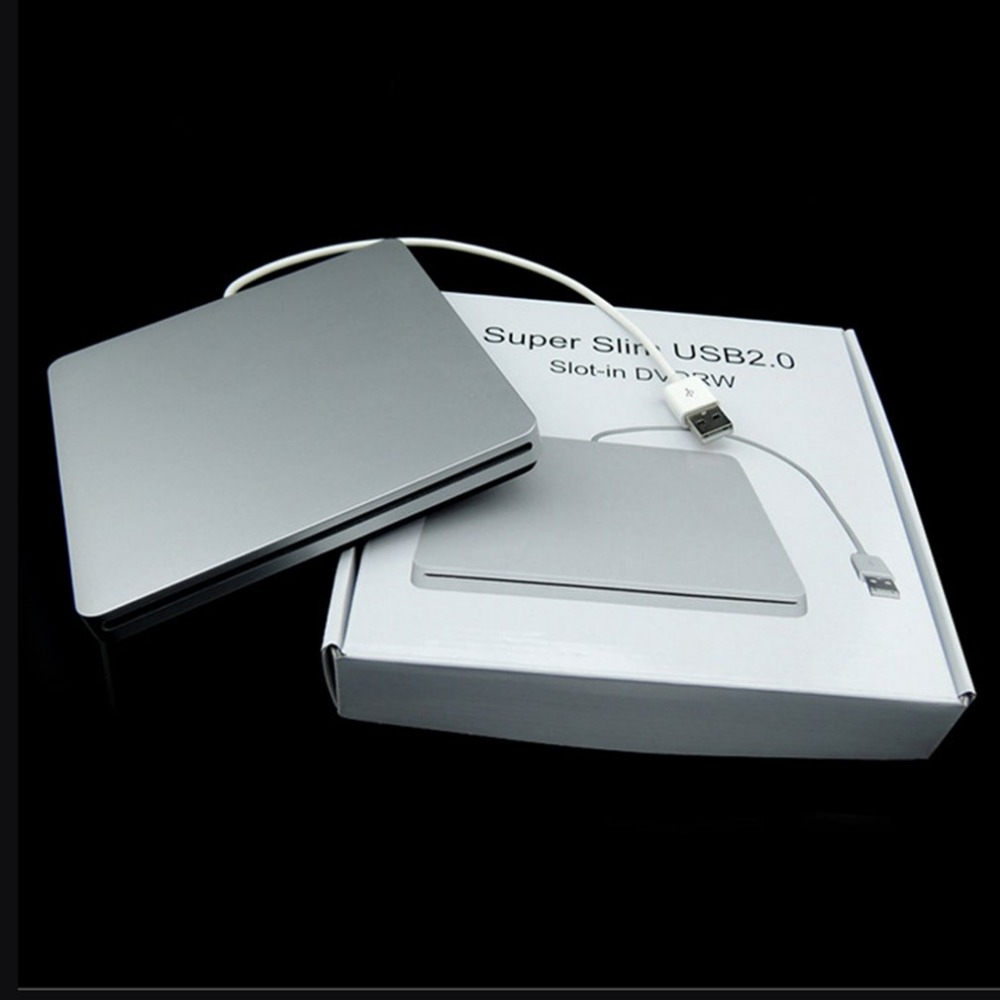 Laptop Type Suction Super Slim USB 2.0 Slot In External DVD Burner External Drives Box Enclosure Case