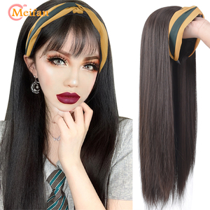 MEIFAN Long Straight/Curly U-Part Wig with Hairband Clip in Hair Extension Invisible Half Head Synthetic Natural Fake Hairpiece