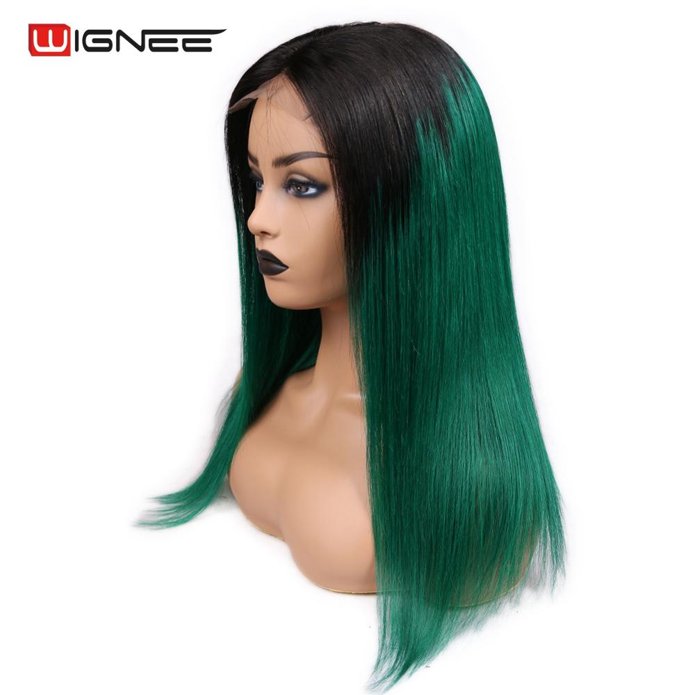 Wignee 4 4 Lace Closure Ombre Green Straight Hair Human Wigs With Baby Hair For Women PrePlucked Natural Hairline Lace Human Wig in Human Hair Lace Wigs from Hair Extensions Wigs