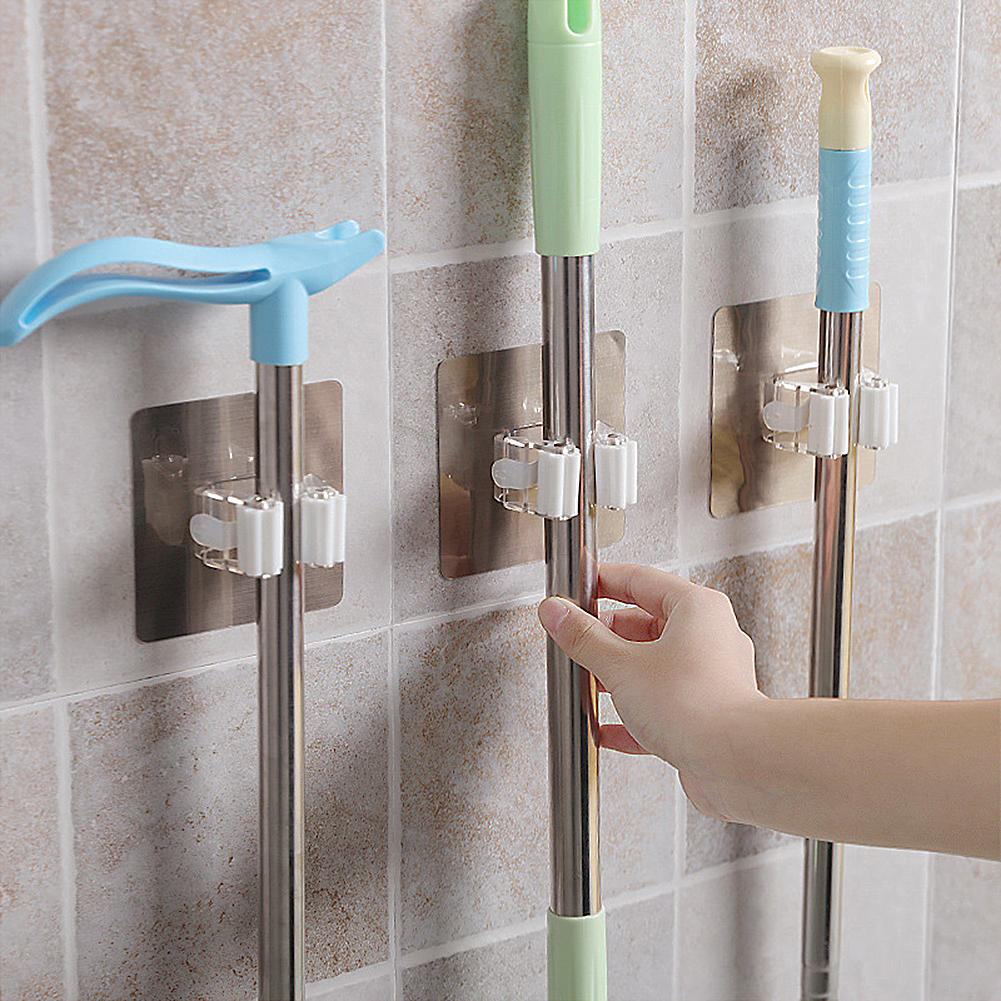 Wall Mounted Mop Holder Brush Broom Hanger Storage Rack Bathroom Organizer Accessory Hanging Pipe Hooks Products For Kitchen