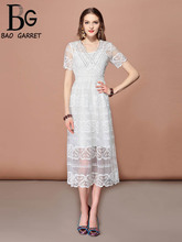 Baogarret Fashion Runway Casual Holiday Party Summer Dress Womens V Neck Hollow out Embroidered Solid Elegant White