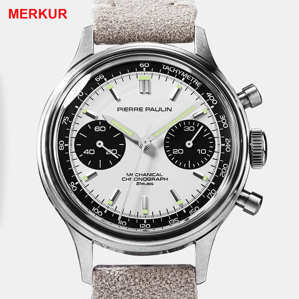 Pilot Watch Men Mechanical Hand Wind Wristwatches Seagull 1963 Chronograph Watch Mens Stainless Steel Acrylic Luminous Watch New
