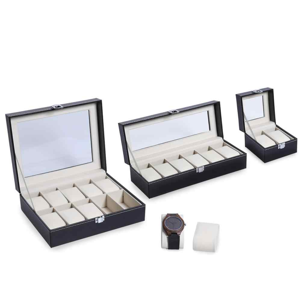 2/3/6/10/12 Grids PU Leather Watch Box Case Professional Holder Organizer for Clock Watches Jewelry Boxes Case Display best gift