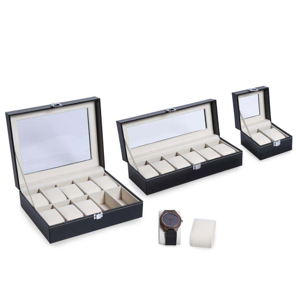 2/3/6/10/12 grades de couro do plutônio caixa de relógio caso profissional titular organizador para relógios relógio caixas de jóias caso exibição melhor presente