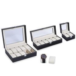 2/3/6/10/12 rejillas de cuero PU caja de reloj Organizador Profesional titular para reloj relojes cajas de joyería caja de exhibición mejor regalo
