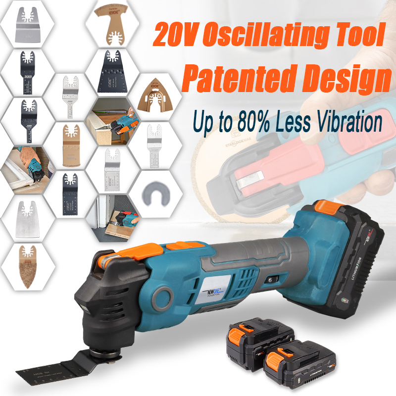 NEWONE 20V Li-ion Cordless Quickchange Oscillating Tool Anti-Vibration Patented Design Electric Trimmer Renovator Quick-release