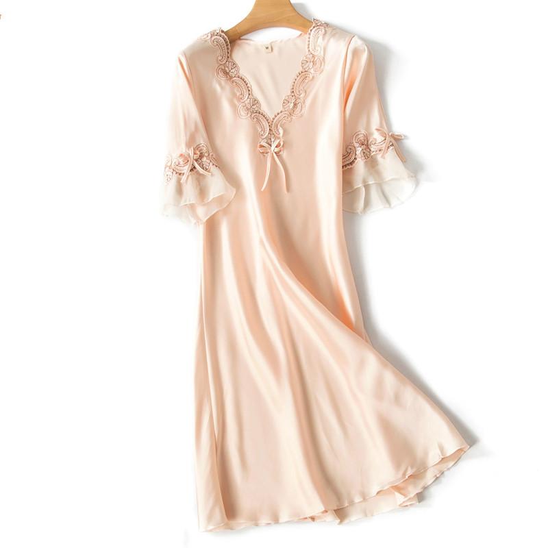 H7e6ffeb49b3a45f4ba0fc238b598366cP Sleep Wear V-neck Sleepdress Version Ice Silk Short Sleeve Lace Skirt Nighty Sexy Sleepwear Women Silk Lingerie Sleeping Dress