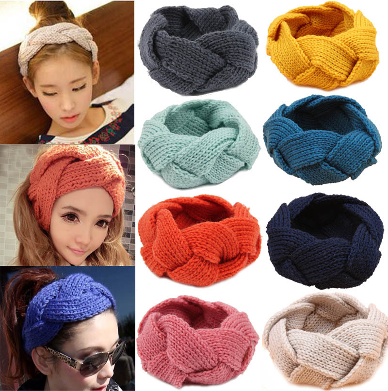 16 Colors Knitting Wool Headband Braid Weaving Hair Bands For Women Autumn And Winter Stripe Women Hair Accessories