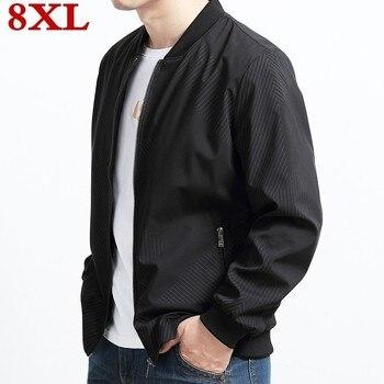 New 8xl 7xl plus size Brand Sale Quality Bomber Casual Jackets Coat Men, Cotton Jacket Black Solid Coats Clothing Jacket Clothes