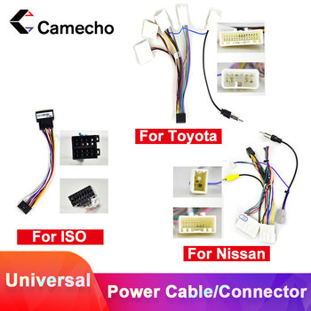 Camecho Android 2Din Car Multimedia MP5 Player ISO Power Cable Adapter Connector Plug Universal For VW Toyota Nissan Kia Polo image