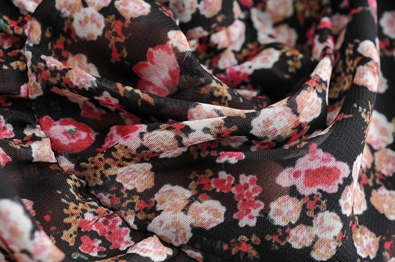 Floral Print Pleated Long Sleeve O Neck Loose Boho Dress 7