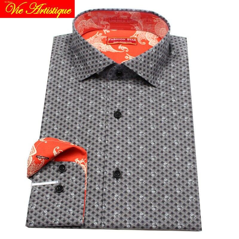 Custom Tailor Made Men's Bespoke Cotton Floral Dress Shirts Business Formal Wedding Blouse 2019 Plus Size Grey Retro Flower