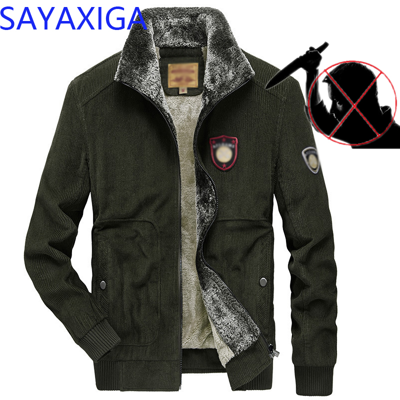 City Leisure self-defense Men Corduroy jacket anti Cut security knife cut resistant stab proof police swat safety clothing S-5XL