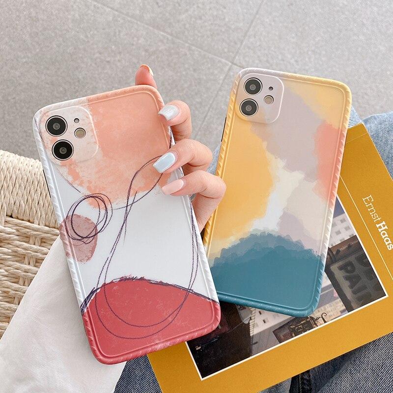 Funda de teléfono con diseño geométrico abstracto para iPhone, carcasa de silicona suave con grafiti para iPhone 11 Por Max X XS Max XR 7 8 Puls 11Pro