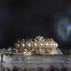 14K złota czysta perła biżuteria pierścionek dla kobiet grzywny Bizuteria biżuteria szczęśliwy kamień kamień Anillos De 14K złoty naturalny pierścionek z perłą Box