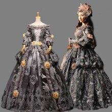 Настоящее венецианское серое карнавальное длинное средневековое платье на бал эпохи Возрождения платье королевы платье в викторианском стиле/Marie Antoinette/Belle Ball