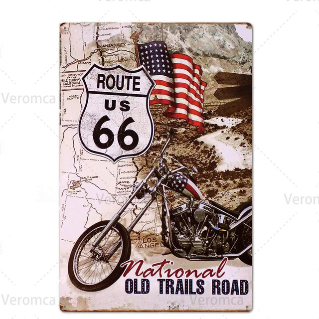 Route 66 MOTORCYCLE Red Retro Tin Plate 8