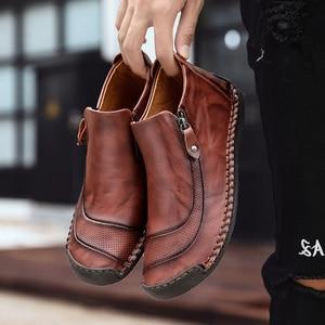 Image 4 - Fhlyiy חדש לגמרי עור קרסול נעלי גברים נעליים יומיומיות חיצוני קטיפה חם פיצול עור נעלי סתיו החלקה zapatos דה Hombre