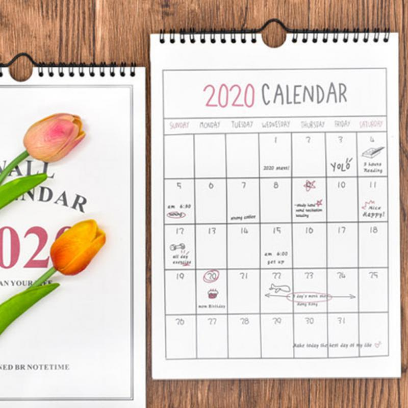 2020 Daily Schedule Monthly Hanging Paper Organizer Wall Calendar Office Hand Drawing Home Annual Planner 365 Days Academic