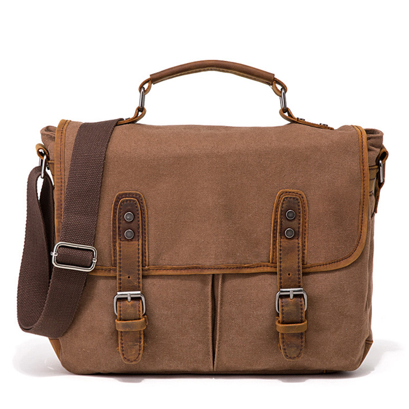 Briefcases Men Canvas Vintage Messenger-Bags Travel-Bags Big-Shoulder-Bag Crossbody Men's