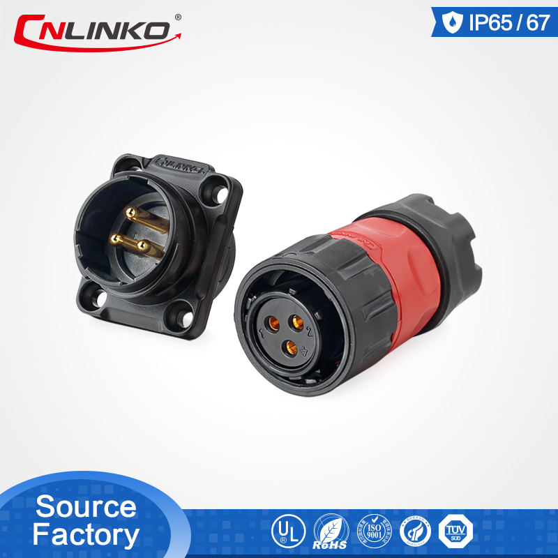 CNLINKO <font><b>2</b></font> 3 4 <font><b>5</b></font> 7 9 <font><b>12</b></font> Pin Soldering M20 Quick Wire Panel Mount AMP High-power AC Electrical IP67 Waterproof Aviation Connector image