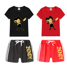 Menino e menina dab bendy t camisa do miúdo shorts definir crianças topos + calças conjuntos de roupas gato, navio da gota