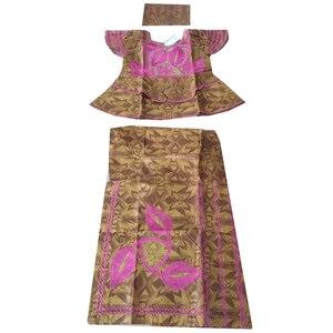 Image 2 - MD アフリカの伝統的な服スーツ刺繍 dashiki バザンリッシュスカートセット 2019 南アフリカ服トップス