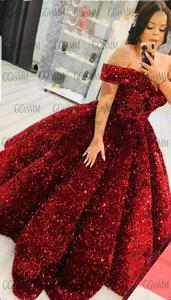Image 5 - Robe de soirée longue rose scintillante, à paillettes, à épaules dénudées, robe de bal, sur mesure, modèle 2020