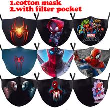 Dorosły dzieciak Spider-Man maski Cosplay Cartoon Anime Marvel Hero maska dziecko wielokrotnego użytku odporny na kurz usta Cap filtr zmywalny Mascarilla tanie tanio Disney CN (pochodzenie) Dolna połowa twarzy spider man cosplay mask marvel hero cosplay mask spider-man protect mask