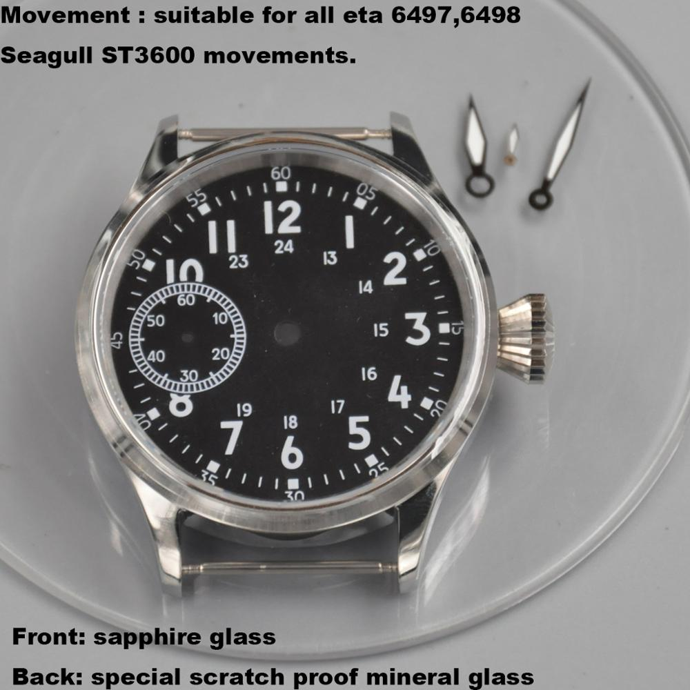43mm Sapphire Glass Stainless steel case+dial+hands Fit <font><b>ST3600</b></font> 6497/6498 movements mens watches image