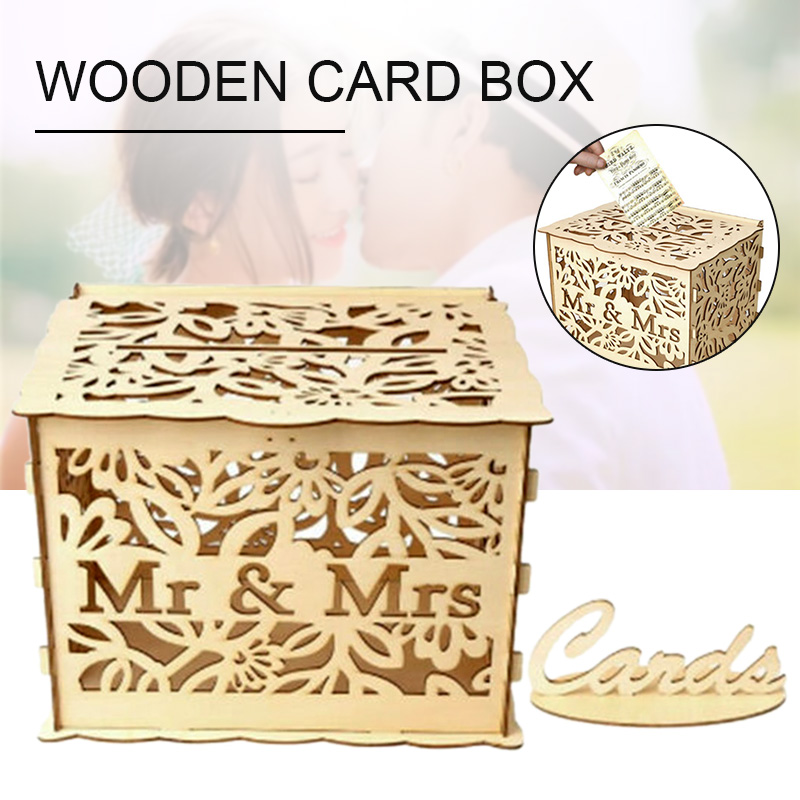 DIY Mr&Mrs Gift Card Box Wooden Wedding Money Box With Lock For Wedding  Birthday Party Decoration Large 30*24*23cm