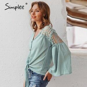 Image 3 - Simplee seksi v yaka kadın bluz zarif dantel nakış hollow out gevşek kollu ofis üstleri dantel up sonbahar kadın bluz gömlek